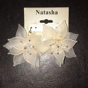 Natasha Vanilla Clear 3 D Earrings with crystals